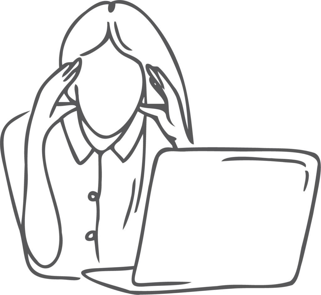 frustrated business woman at computer