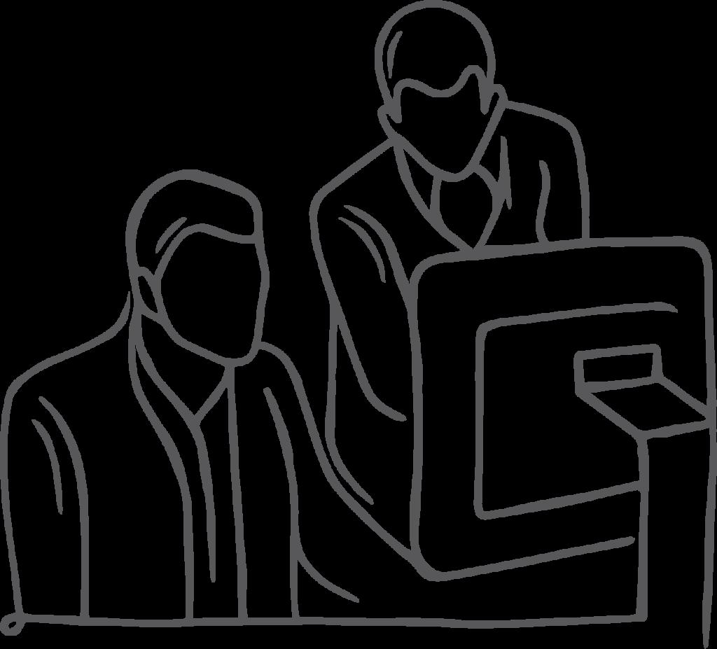 team at computer